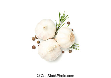 Garlic, pepper and rosemary isolated on white background, top view