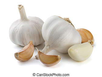 Garlic cloves and bulbs isolated on white