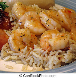 Garlic Shrimp - A plate of shrimp, cooked in garlic herb ...