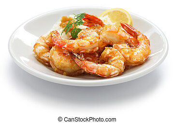 garlic shrimp, hawaiian food isolated on white background