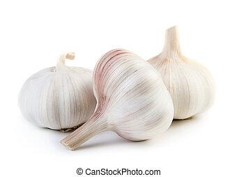 Garlic - Three raw garlic isolated on white background