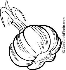 garlic vegetable cartoon for coloring book