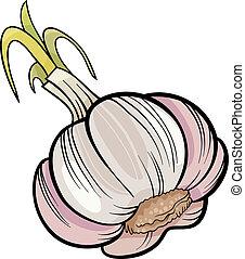 garlic vegetable cartoon illustration - Cartoon Illustration...