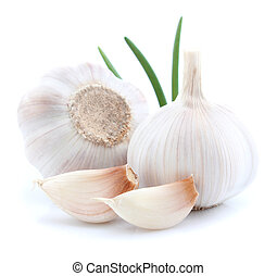 Garlic with green leaves