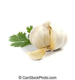 garlic with green parsley