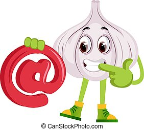 Garlic with @, illustration, vector on white background.