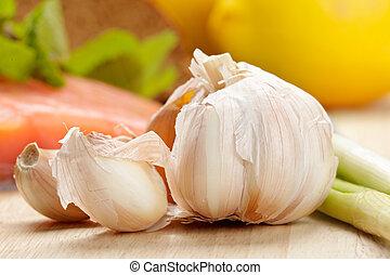Garlic with other food closeup