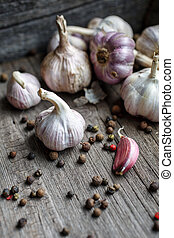 Garlic with pepper is in the box