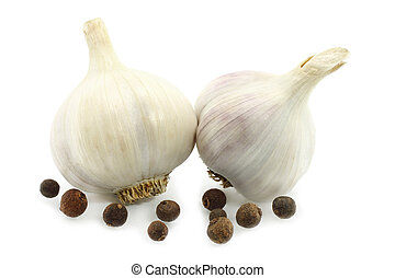 Garlic with pepper on a white background