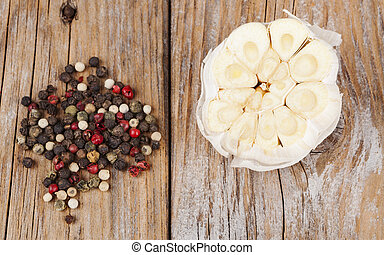 Garlic with Pepper on Wood