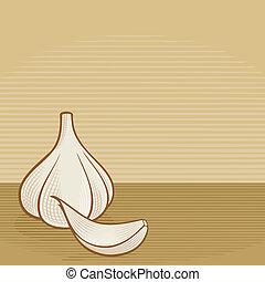 Garlic woodcut - Garlic bulb with clove icons with woodcut...