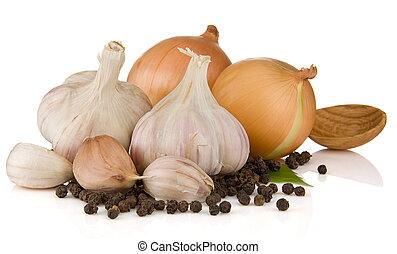 garlics, peper, en, ui, vrijstaand, op wit
