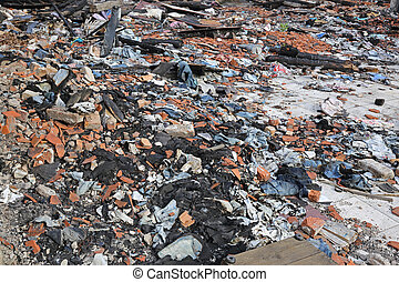 Garment Factory Debris - Scattered Debris in Garment Factory...