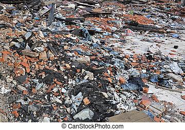 Garment Factory Debris - Scattered Debris in Garment Factory...