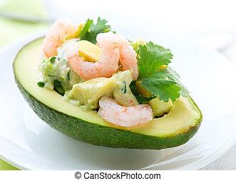 garnalen, avocado, salad., voorgerecht