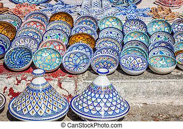 garncarstwo, bazar, orientalny, (tunisia), barwny