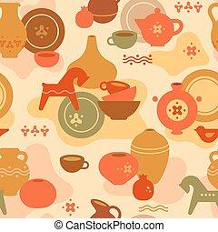 garncarstwo, ceramic., kobiety, próbka, dishes., wazony, seamless, inny, inny, glina, koń