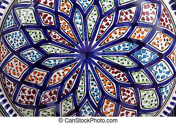 garncarstwo, tunisian, orientalny, szczegół, barwny