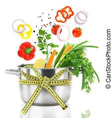 garnek, świeży, taśma, spadanie, warzywa, mierniczy, tygielek