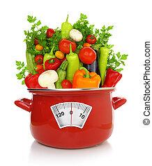 garnek, barwny, concept., warzywa, dieta, gotowanie, czerwony