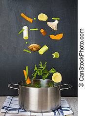 garnek, czarnoskóry, świeży, tło, spadanie, warzywa