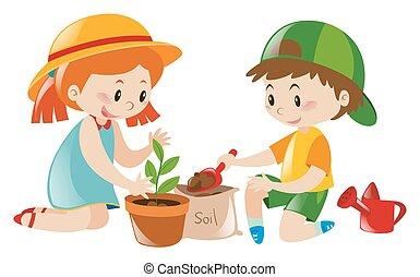 garnek, dzieciaki, drzewo, dwa, interpretacja