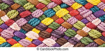 garner, mång-, ylle, färgad