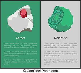 Garnet and Malachite Hydroxide Minerals, Red Green - Garnet...