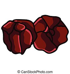 Garnet crystal birth stone for January clip art. Mystic order precious rock for birthday date. Red treasure illustration doodle in flat colour. Isolated esoteric vector EPS 10.