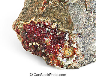 Garnet gem, crystallization on rock