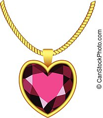 Garnet heart icon, realistic style - Garnet heart icon....