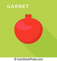 Garnet icon, flat style - Garnet icon. Flat illustration of...