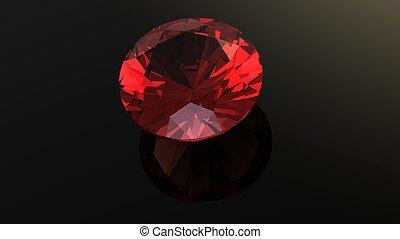 Garnet. Jewelry gems roung shape on black background