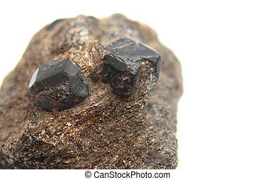 (garnet, natürlich, hesonite, mineral)