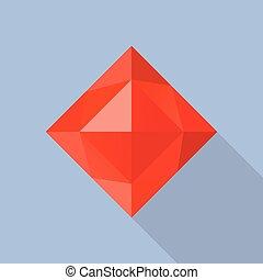 Garnet stone icon, flat style - Garnet stone icon. Flat...