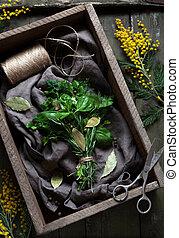 garni, 調味料, 春, 花束, ハーブ, 新たに, はさみ, 束