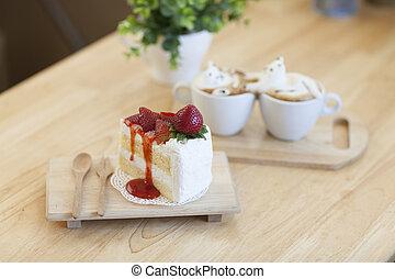 garnierung, gemacht, becher, oberseite, schaum, cafe au lait, erdbeer, heißer kuchen, milch