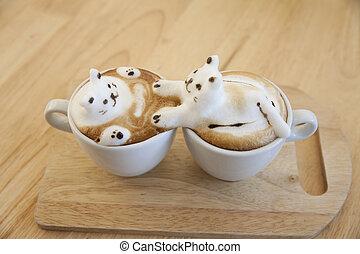 garnierung, gemacht, becher, oberseite, schaum, cafe au lait, heiß, holz, ort, tisch, milch
