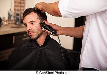garnierung, haar, in, a, frisörgeschäft