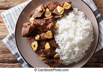 garnir, plaque., boeuf, sommet, philippine, salpicao, closeup, horizontal, riz, vue