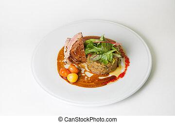 garnir, riz, bifteck boeuf