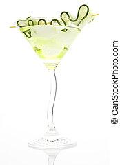 garnirować, isolated., ogórek, cocktail, luksusowy, lód