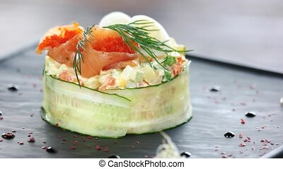 Garnished olivier salad close up.