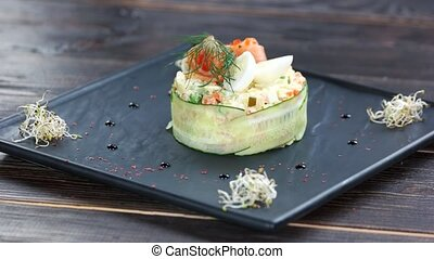 Garnished olivier salad. Tasty dish, vegetables and...