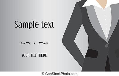 garnitur, kobieta handlowa, tło