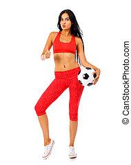 garnitur, piłki, lekkoatletyka, stosowność, piłka nożna, czerwony, kobieta