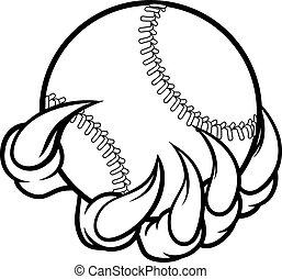 garra, bola, basebol, monstro, segurando