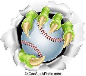garra, rotura, beisball, plano de fondo, pelota, afuera