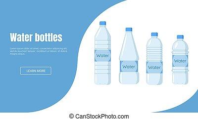 garrafa, água, bandeira