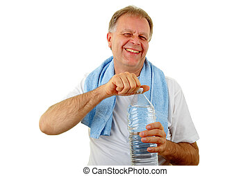garrafa água, homem